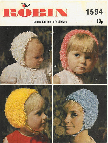 1594R family loopy hats vintage knitting pattern  PDF Download