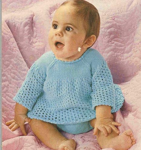 3015L baby dress set vintage knitting pattern  PDF Download