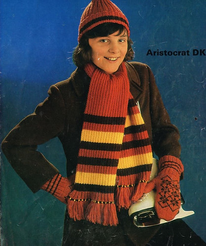 1581 girls hat and gloves set Vintage knitting pattern  PDF Download