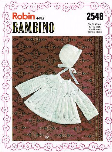 2548R baby matinee coat set vintage knitting pattern  PDF Download