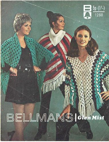 1288 ladies ponchos wrap Vintage crochet pattern  PDF Download