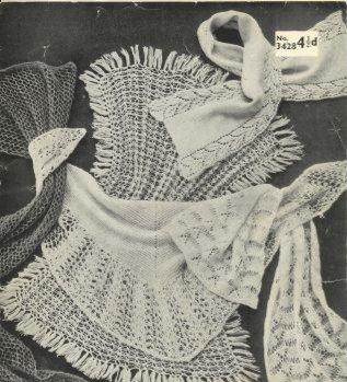 3428 ladies shawl scarf Vintage knitting pattern  PDF Download