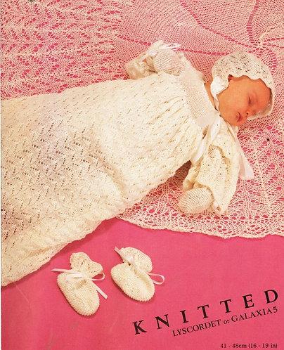 7086T baby christening dress set vintage knitting pattern  PDF Download