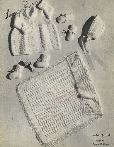 162 baby pram blanket matinee coat set vintage knitting pattern PDF Download