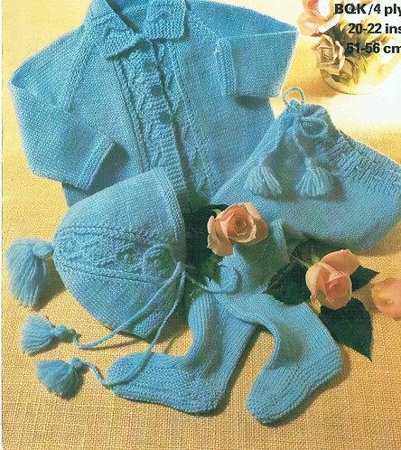 1782M baby pram suit vintage knitting pattern  PDF Download
