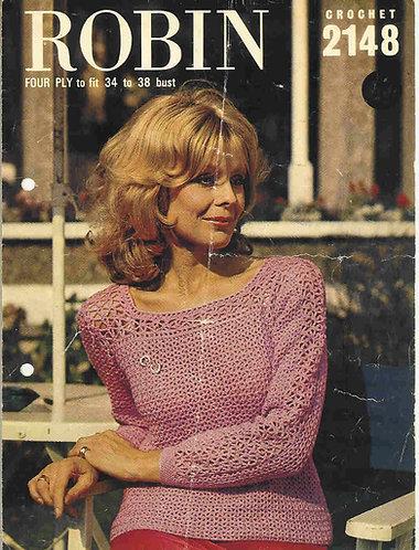 2148R ladies jumper vintage crochet pattern  PDF Download