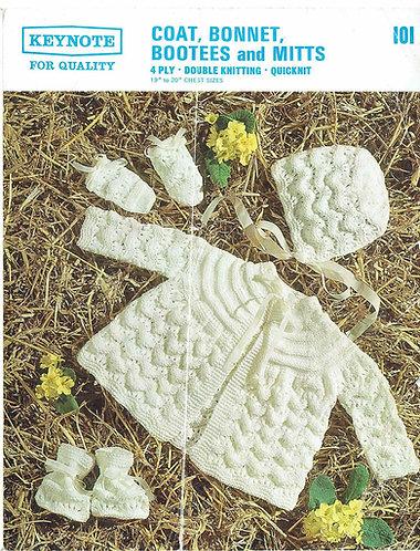 101K baby matinee coat set vintage knitting pattern  PDF Download