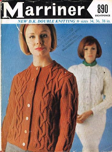 890 ladies cardigan Vintage knitting pattern  PDF Download