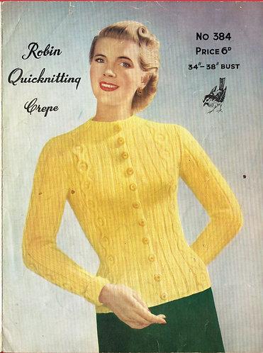 384R ladies cardigan vintage knitting pattern  PDF Download