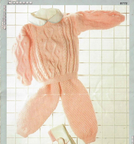 8772P baby jumper set vintage knitting pattern  PDF Download