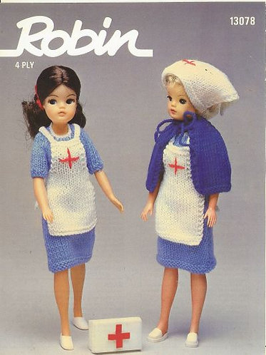 13078R fashion doll clothes vintage knitting pattern  PDF Download