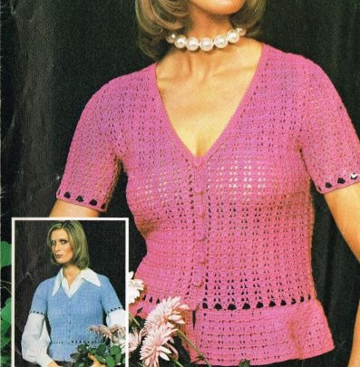 5157T ladies cardigan top vintage crochet pattern  PDF Download