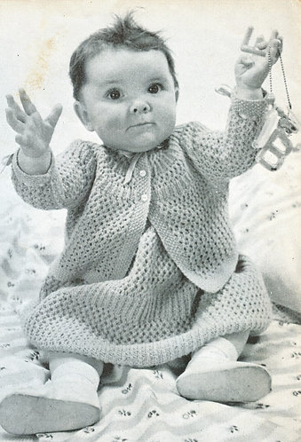 Baby dress and coat set vintage knitting pattern  PDF Download