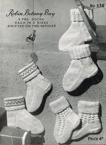 538R baby socks vintage knitting pattern  PDF Download