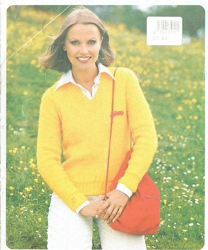 5206P ladies v-neck jumper Vintage knitting pattern  PDF Download