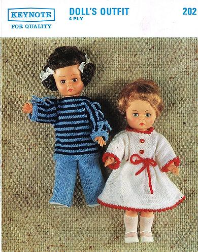 202K dolls clothes vintage knitting pattern  PDF Download