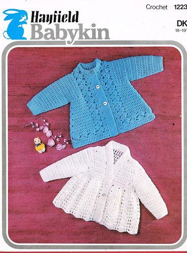 1223H baby matinee coat vintage crochet pattern PDF Download
