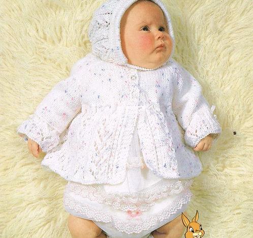 1902H baby matinee coat set vintage knitting pattern  PDF Download