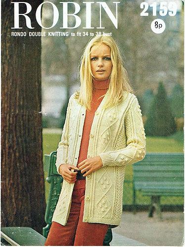 2159R ladies cardigan vintage knitting pattern  PDF Download