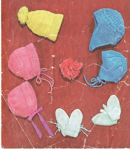 1252M baby hats vintage knitting pattern  PDF Download