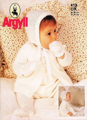 413Ar baby vintage knitting pattern PDF