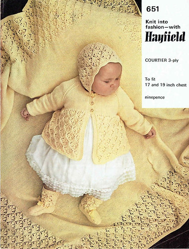 651H baby matinee coat and shawl vintage knitting pattern  PDF Download