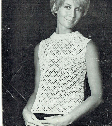 825T ladies summer top vintage crochet pattern  PDF Download