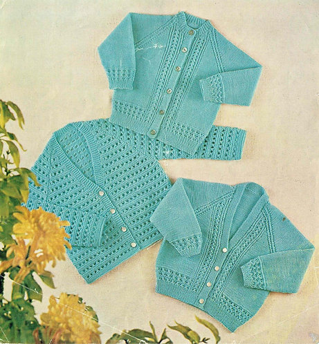 599 baby cardigans vintage knitting pattern PDF Download
