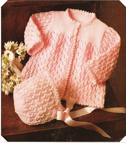 514Ja baby matinee coat set vintage knitting pattern  PDF Download