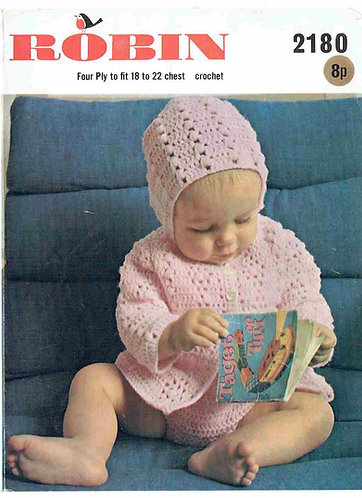 2180R baby matinee coat set vintage crochet pattern  PDF Download