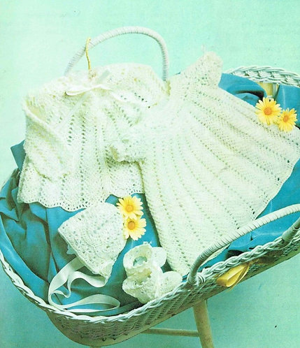 1500M baby matinee coat dress vintage crochet pattern  PDF Download