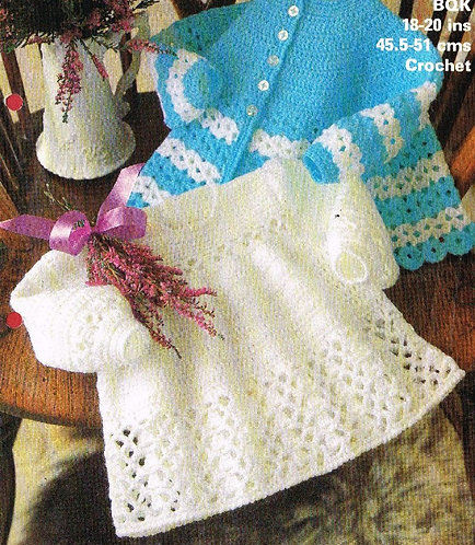 1907M baby dress vintage crochet pattern  PDF Download