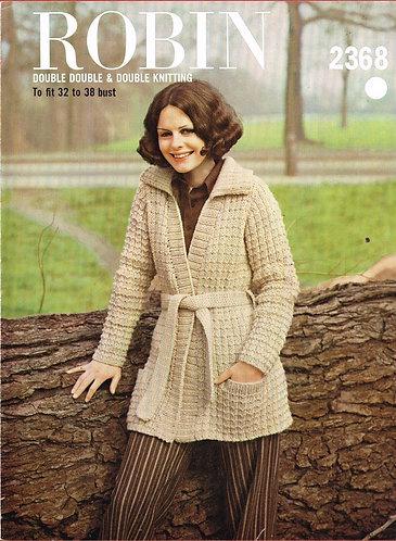 2368R ladies belted cardigan vintage knitting pattern  PDF Download