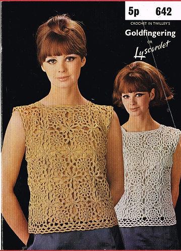 642T ladies summer top vintage crochet pattern  PDF Download