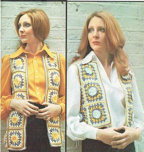 5960T flower loom ladies waistcoat vintage crochet pattern  PDF Download