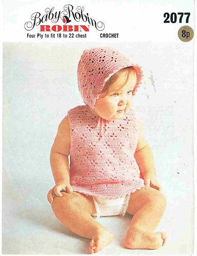 2077R baby dress set vintage crochet pattern  PDF Download