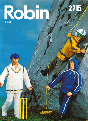 2715R action man fashion doll clothes vintage knitting pattern  PDF Download