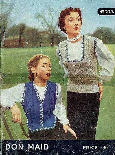 Don Maid 223 ladies waistcoat slipover vintage knitting pattern PDF Download
