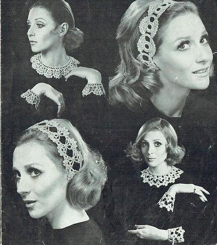 771T ladies collars headbands vintage crochet pattern  PDF Download