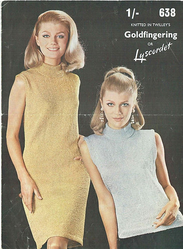 638T ladies summer top and dress vintage knitting pattern  PDF Download