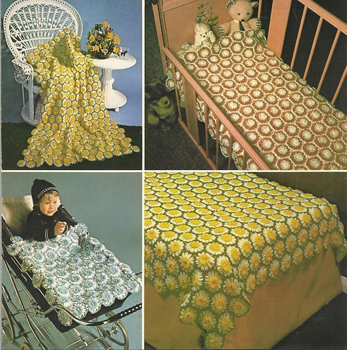 5947T flower loom blankets vintage crochet pattern  PDF Download