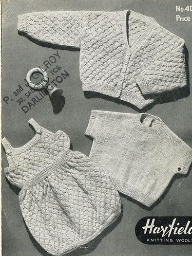 4015H baby romper suit vintage knitting pattern  PDF Download