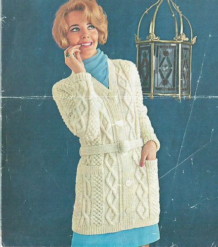 1312 ladies cable cardigan Vintage knitting pattern  PDF Download