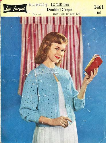 1461Lt ladies bedjacket vintage knitting pattern  PDF download