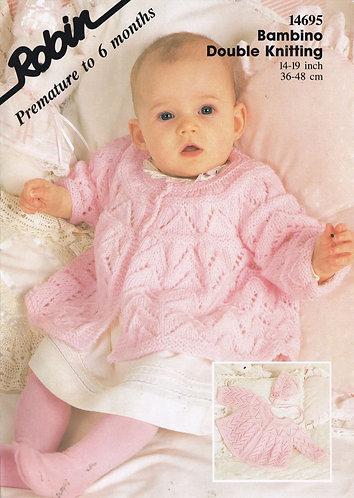 14695R baby matinee coat set vintage knitting pattern  PDF Download