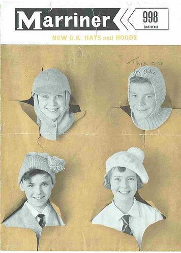998 ladies hats Vintage knitting pattern  PDF Download