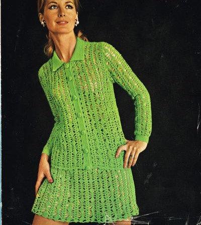 829T ladies cardigan skirt suit vintage crochet pattern  PDF Download