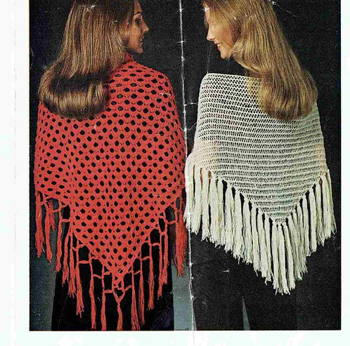 5861T ladies shawl vintage knitting and crochet pattern  PDF Download