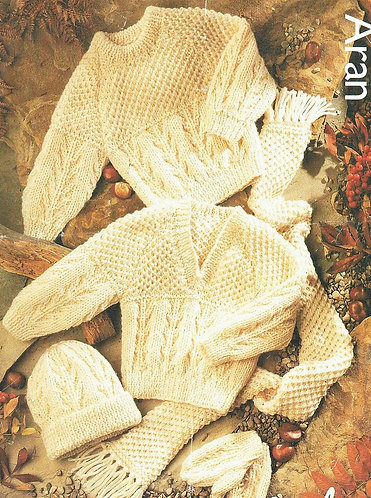 631J baby aran jumper set vintage knitting pattern  PDF Download