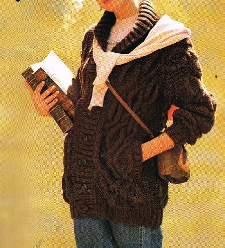 14825R ladies chunky cardigan vintage knitting pattern  PDF Download